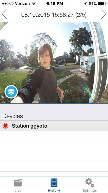 Interface de l'application mobile du carillon sans fil DoorBird