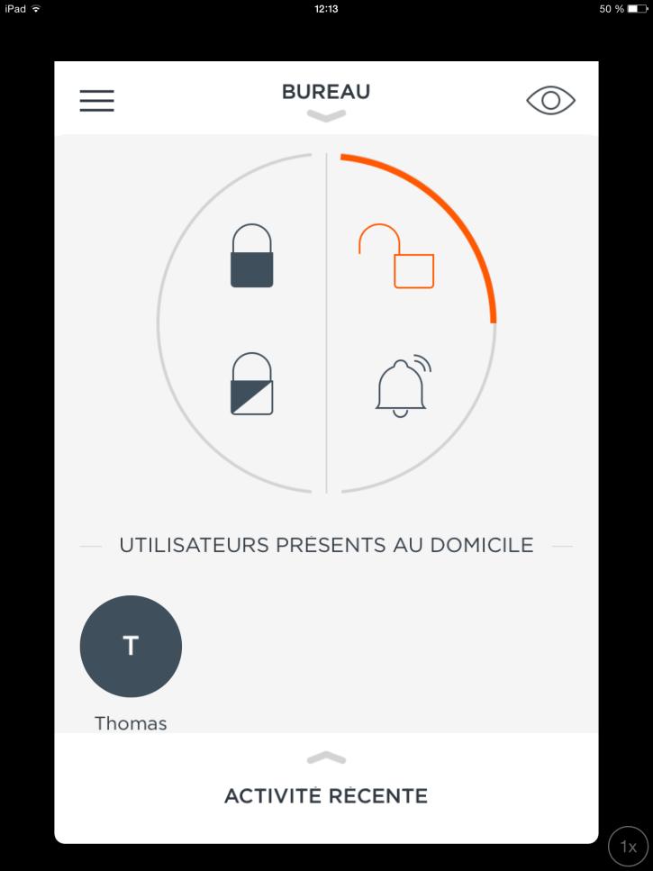 Accueil de l'application du MyFox Home Alarm