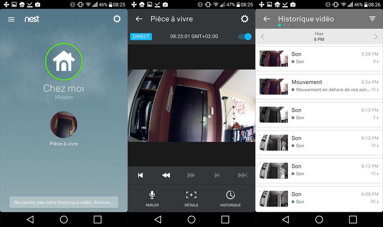 Interface de l'application dédiée de la Nest Cam