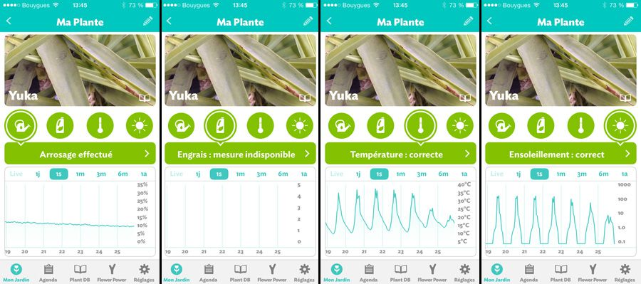 Interface de l'application mobile du Parrot Flower Power
