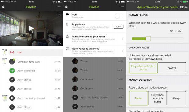 Interface de l'application mobile de la caméra connectée à reconnaissance faciale Netatmo Welcome