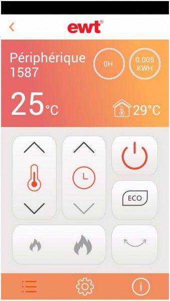 Interface de l'application du chauffage soufflant connecté EWT CONNECT IT