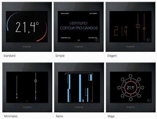 Les 6 thèmes d'affichage de la température sur l'écran du thermostat connecté Smart Momit