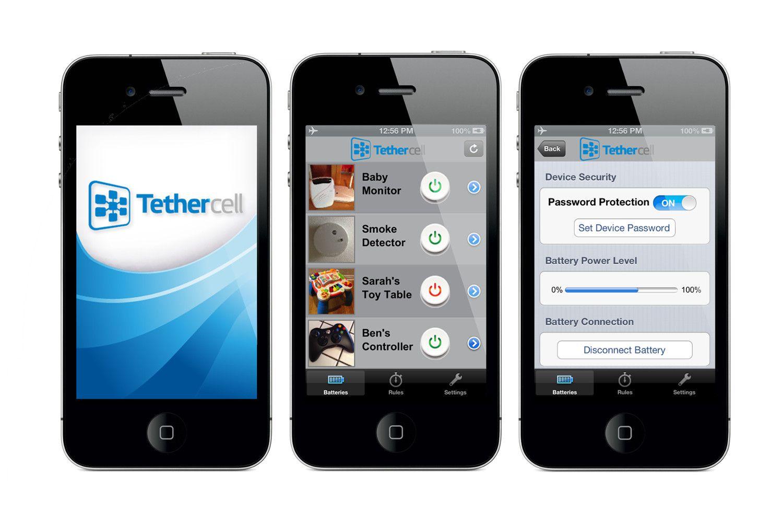 Interface de l'application de la pile connectée TetherCell