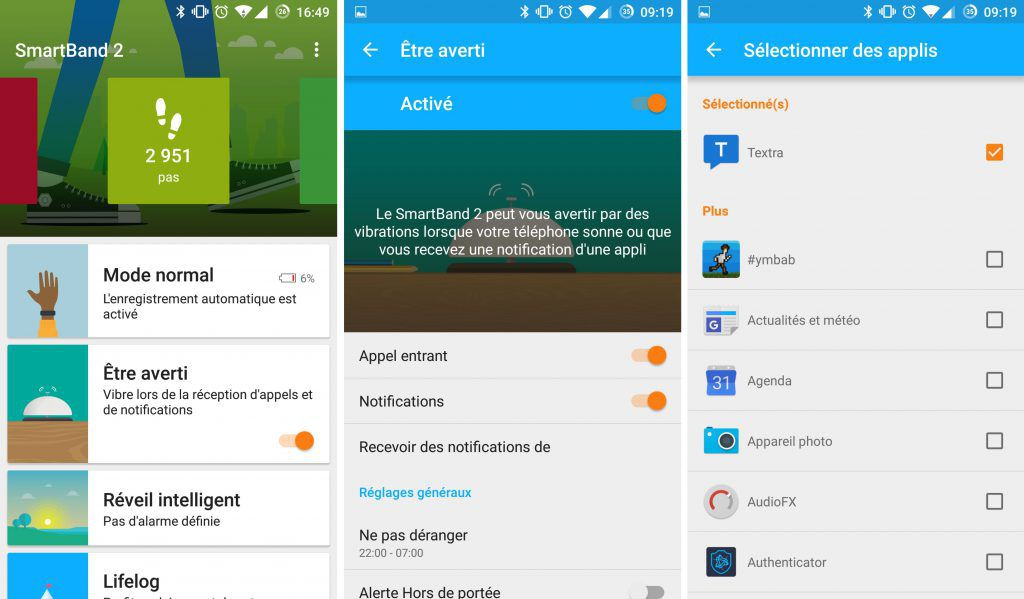 Options de l'application Sony SmartBand 2 SWR12