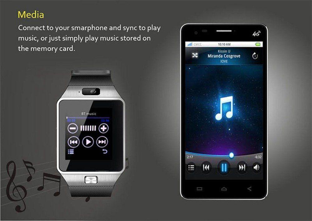 Avec la DZ09 smartwatch, vous pouvez profiter de la musique stockée sur le téléphone portable avec lequel elle est connectée.