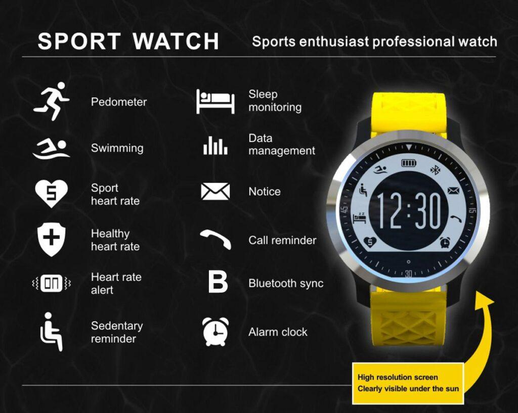 Fonctions de la Smartwatch Makibes F69 IP68-montre connectée étanche