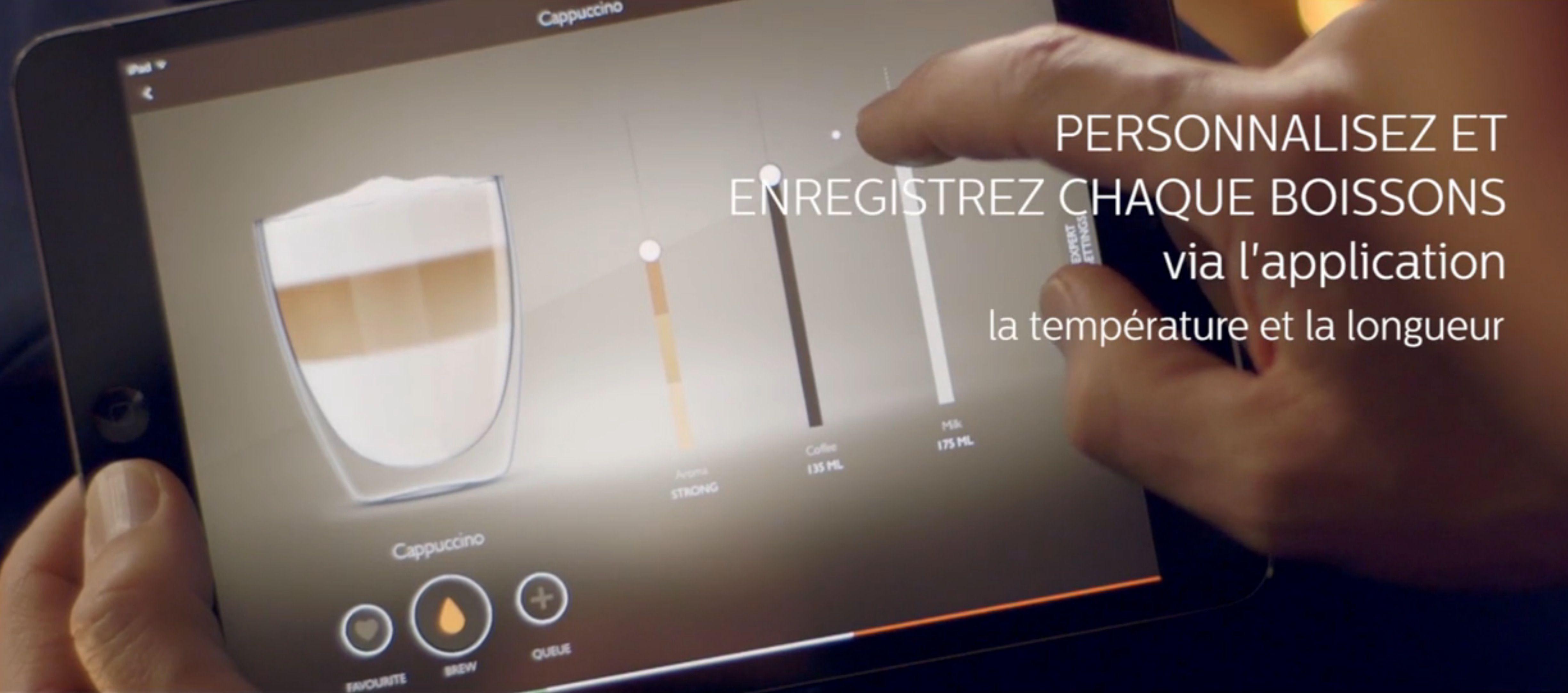 Machine à expresso Saeco HD8977/01 : interface de l'application