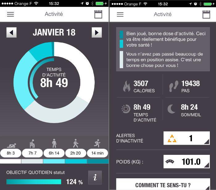 Interface de l'application mobile (iOS) du Polar Loop