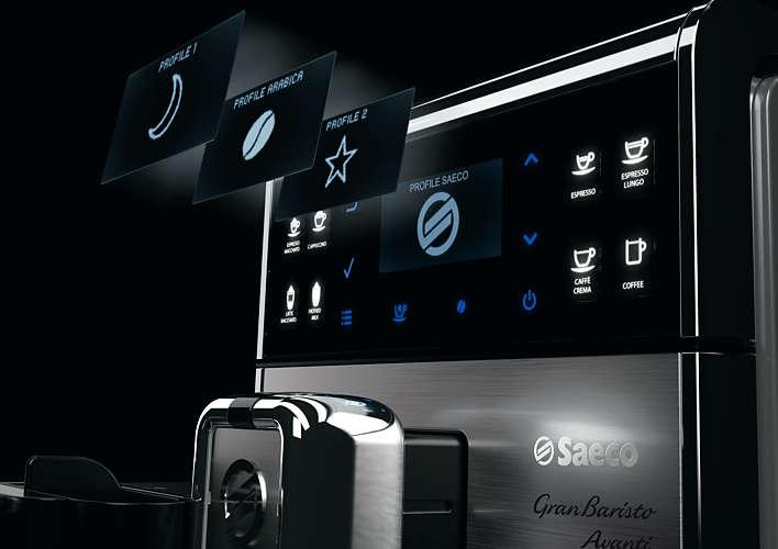 Machine à expresso :Ecran de la Saeco HD8977/01 Granbaristo Avanti