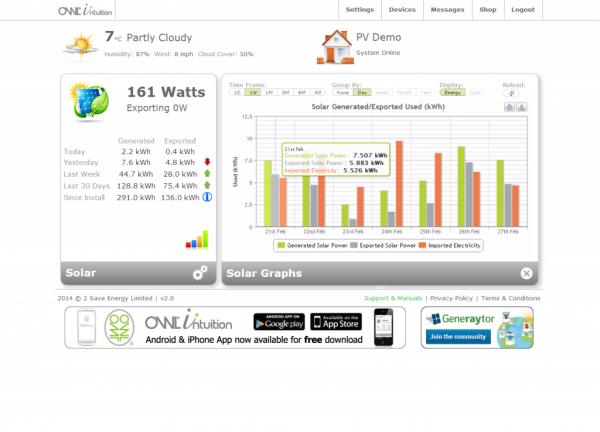 Interface de la plateforme Web pour la gestion du thermostat intelligent OWL Intuition-h TSE220-120