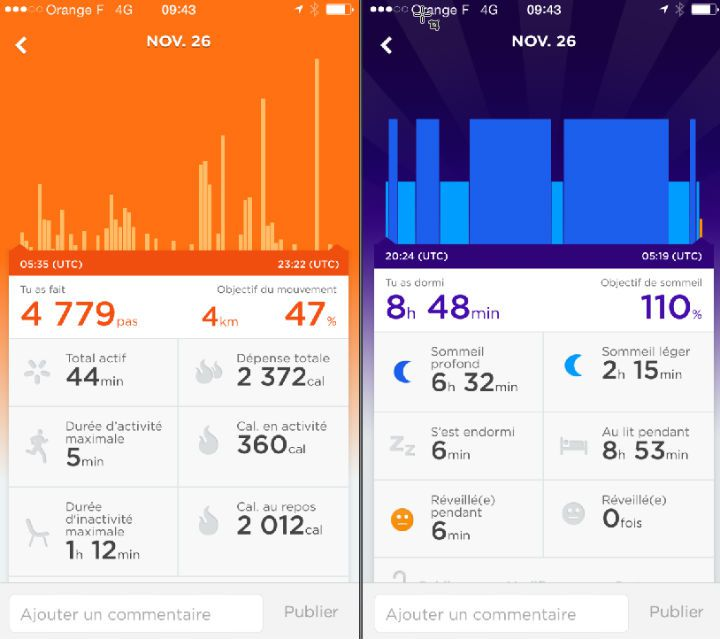 Voici l'interface de l'application mobile qui pilote le Jawbone UP Move