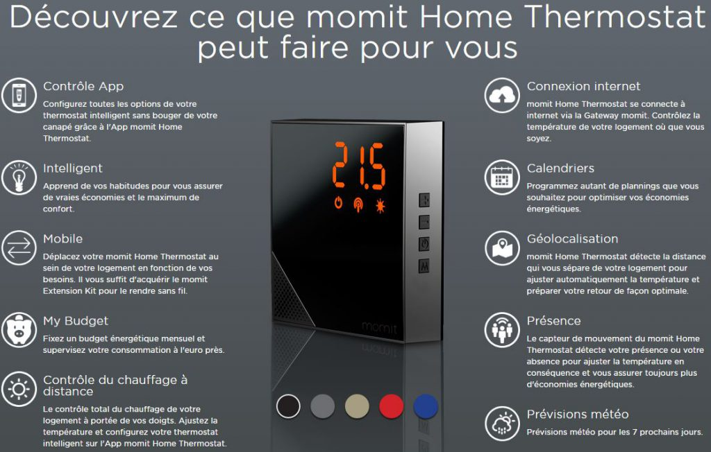 Les fonctions du thermostat connecté MOMIT HOME